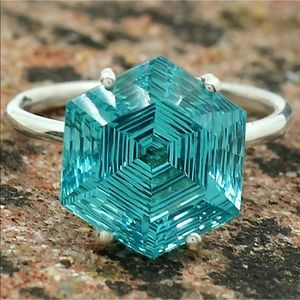 Paraiba Ice blue tourmaline ring size 7